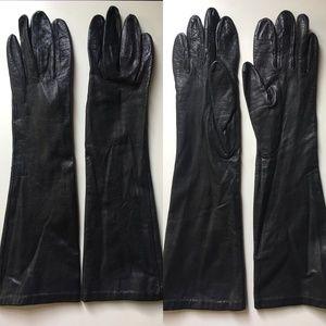 Vintage Long Miss Aris Black Leather Gloves